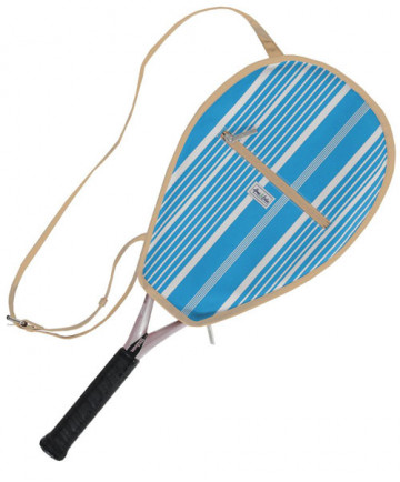 Ame & Lulu Riley Racquet Cover Ticking Stripe Blue/Tan RC092