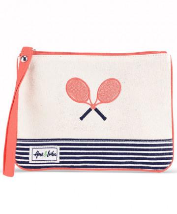Ame & Lulu Tennis Lovers Wristlet Blaine Cream/Navy/Coral TLWL100