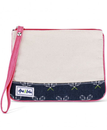 Ame & Lulu Forget Me Not Wristlet Match Point Cream/Navy/Pink WL102