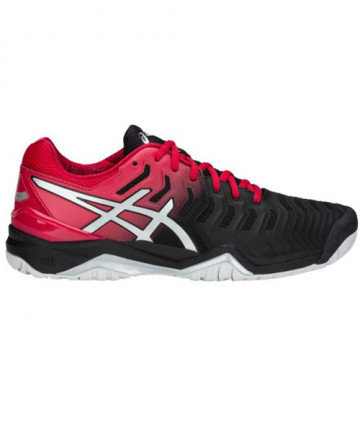 Asics Men's Gel Resolution 7 Shoes Black/Red/Silver E701Y-001