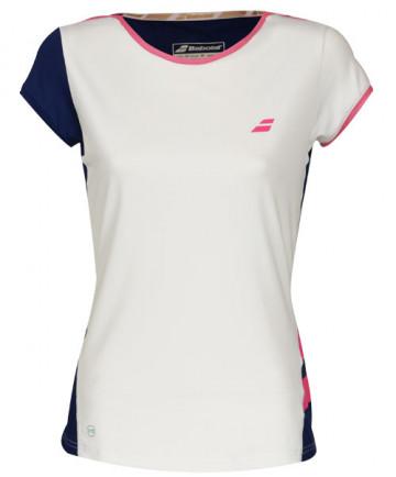 Babolat Women's Performance Cap Sleeve Top White/Estate Blue 2WS18031-1005