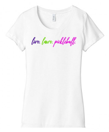 From Live Love Pickleball S/S Tee- White BC8413