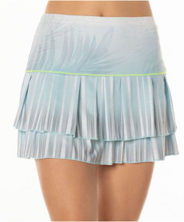 Lucky in Love Las Palmas Palm Shade LONG Tiered Skirt Aquafrost CB234-473420