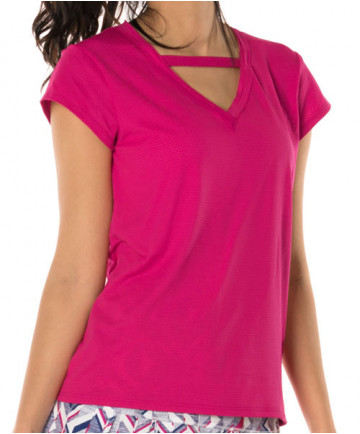 Lucky in Love Shape it Up Relaxed V-Neck Short Sleeve Top Raspberry CT538-643