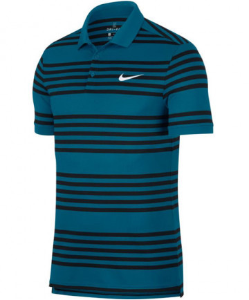 Nike Men's Court Dry Striped Polo Green Abyss 887493-301