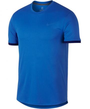 Nike Men's Court Dry Short Sleeve Colorblock Top Signal Blue 939134-403