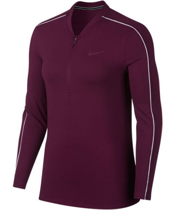 Nike Women's Court Dry Long Sleeve Half Zip Top Bordeaux 939322-609