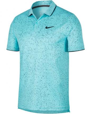 Nike Men's Court Dry Print Polo Light Aqua AT4148-434