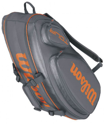 Wilson Tour V 9 Pack Bag Grey/Orange WRZ847409