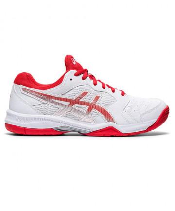 Asics Women's GEL Dedicate 6 Shoes White/Fiery Red 1042A067-107