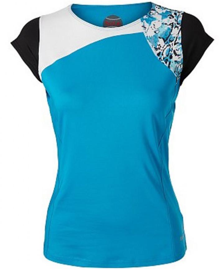 boll/é Womens Indigo Splash Cap Sleeve Tennis Top