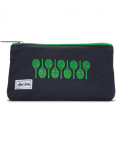 Ame & Lulu Icon Brush It Off Cosmetic Case Raquets Navy / Green ICBC135