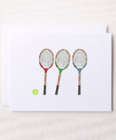 Bloom Design Note Cards Wood Racquets Notes-WR