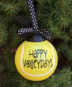Cute Tennis Boxed Ball Ornament Happy VolleyDays