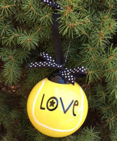 Cute Tennis Boxed Ball Ornament Love