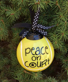 Cute Tennis Boxed Ball Ornament Peace on Court