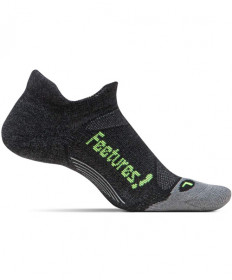 Feetures! Merino plus Light Cushion No Show Tab Charcoal Socks, Large EM500593