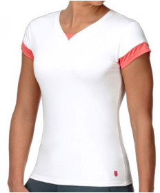 K-Swiss Women's Pace Cap Sleeve White/Sugar Coral 191462-168