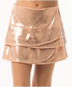 Lucky in Love Girls' Metallic Scallop Skirt Rose Gold B93-902
