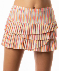 Lucky In Love Neon Vibes Lit Pleated Scallop Skirt Coral Crush CB203-662647