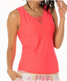 Lucky In Love Neon Vibes Harmony Laced Tank Coral Crush CT543-647