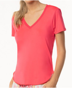 Lucky In Love Neon Vibes Shirttail V-Neck Short Sleeve Top Coral Crush CT547-647
