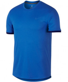Nike Men's Court Dry Short Sleeve Colorblock Top Signal Blue 939134-403