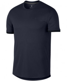Nike Men's Court Dry Short Sleeve Colorblock Top Obsidian 939134-451