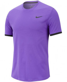 Nike Men's Court Dry Short Sleeve Color Block Top Psychic Purple 939134-550