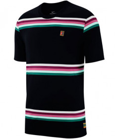 Nike Men's Court Heritage Stripe Crew Tee Black AO1148-010