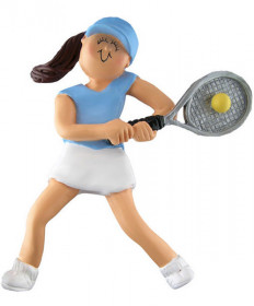Female Tennis Ornament - Brunette
