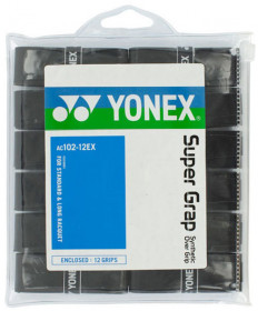 Yonex Super Grap Overgrips 12-Pack Black AC102-12EX-BK