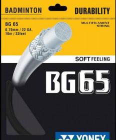 Yonex BG 65 Micron Badminton Strung 22 Black