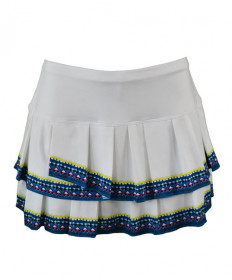 Lucky In Love 13 inch Bohemian Pleat Tier Skirt- White CB180-586110