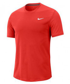 Nike Men's Court Dry Short Sleeve Colorblock Top-Habanero Red 939134-634