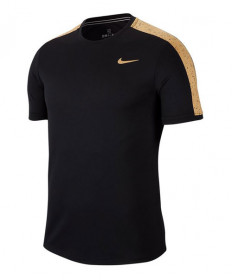 Nike Men's Court Dry Graphic Crew-Black-Gold AT4305-011